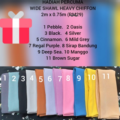 Wide shawl chiffon 1450 points